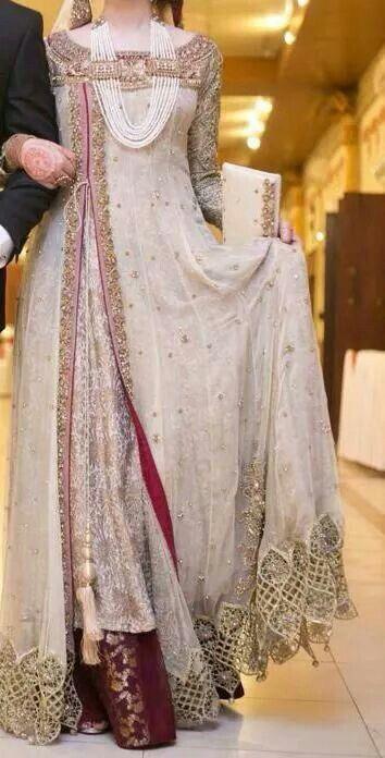 Pakistabi Bride in White- style