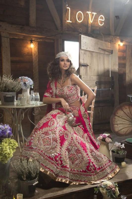 Indian Wedding lehngay 2016- red pink
