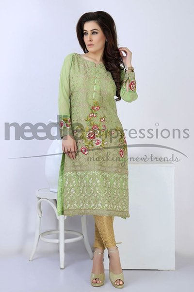 Needle Impressions Embroidered chiffon Dresses 2016 For Women