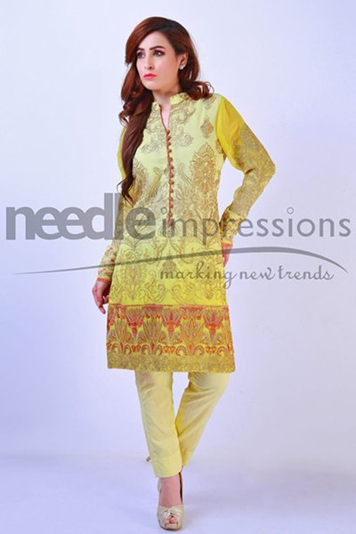 Needle Impressions Embroidered chiffon Dresses 2016 For Women003