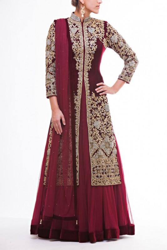 Velvet Bridal dresses   red
