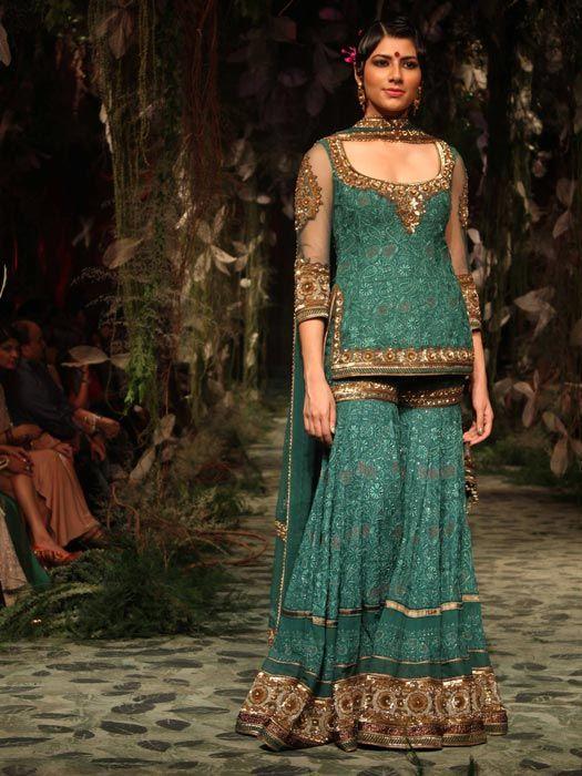 green bridal Sharara Designs 2017