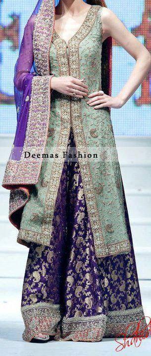 Purple bridal Sharara Designs 2017