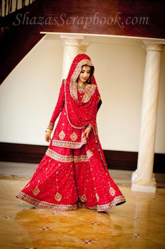 Red bridal Sharara Designs 2017