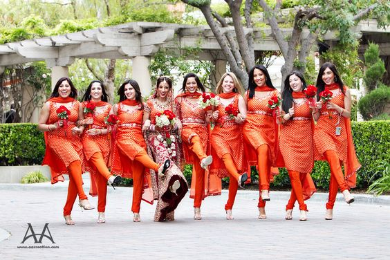 wedding bridesmaid dresses ideas. orange