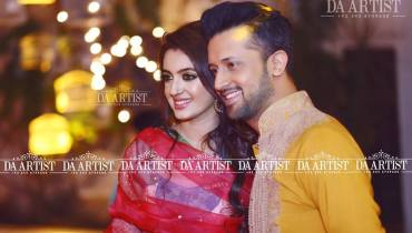 Atif Aslam With His Wife At A Family Wedding