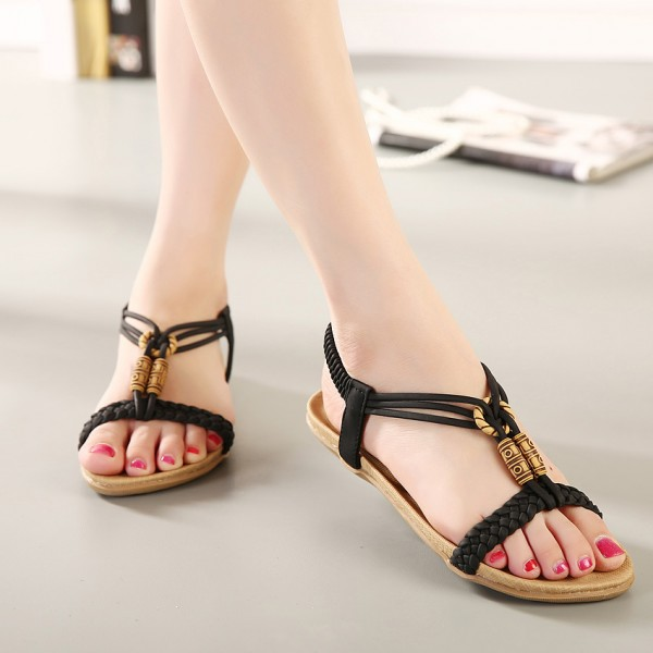 Free-Shipping-Summer-2016-New-Bohemian-Beaded-Beach-Sandals-Flat-Shoes-Sandals-Shoes-Size-Eur35-42
