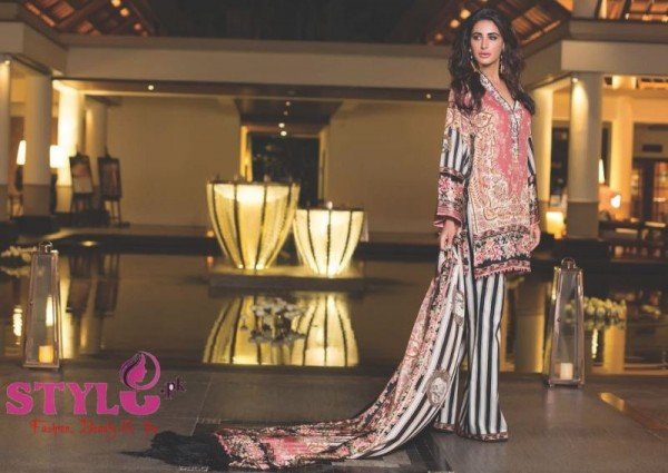 Nargis Fakhri Model For Shehla Chatoor Luxury Lawn 2016 by Shariq Textiles