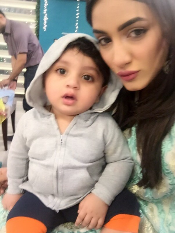 Mathira with her son