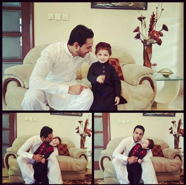 Arslan With His Son On Eid 2016