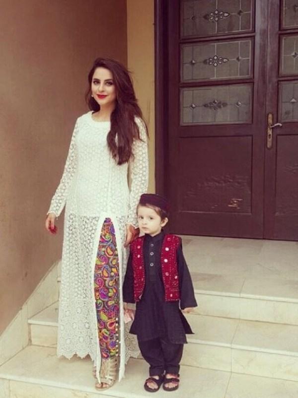 Fatima Effendi With Her Son On Eid 2016