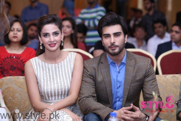 Saba Qamar and Imran Abbas at Media meet held for Lahore se Aagey