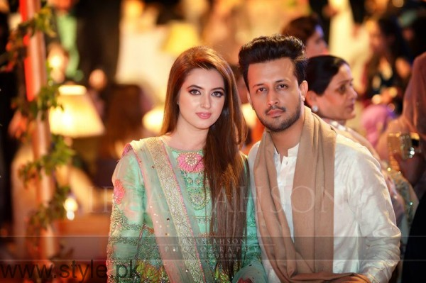Atif Alsam with his wife at a Wedding Ceremony in Lahore (2)