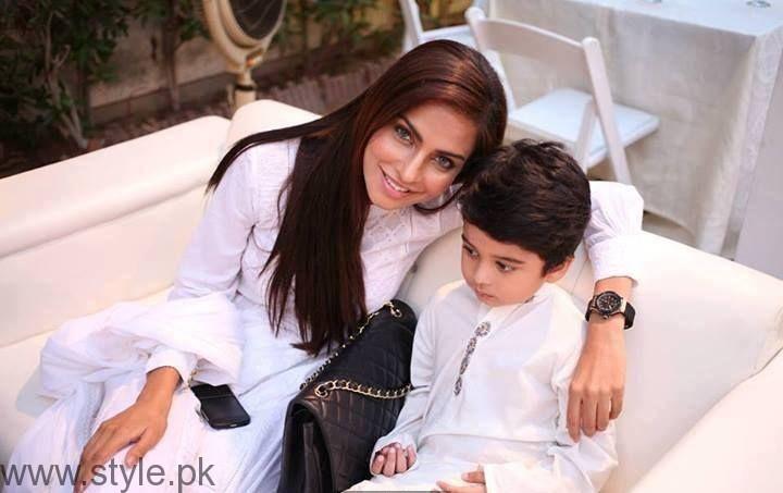 Fozia Aman with son