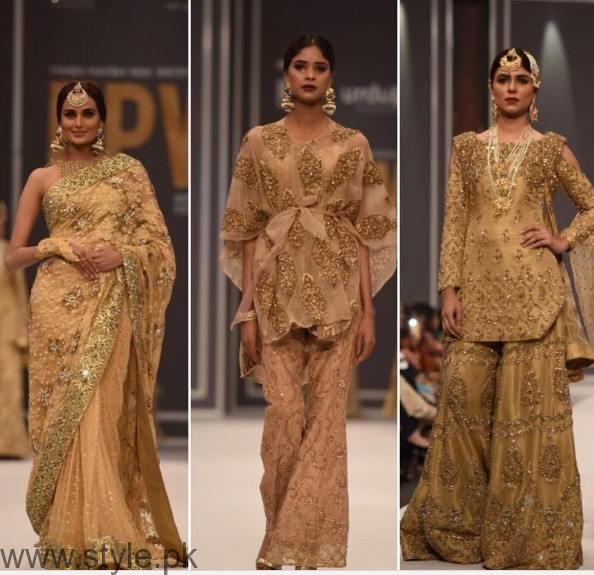 Pakistani Golden Party wear Dresses (8)