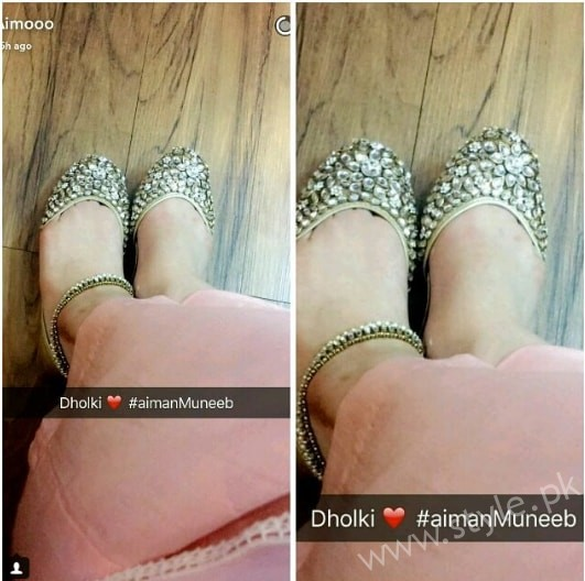Aiman Khan and Muneeb Butt's First Dholki Pictures (8)