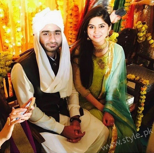 Sanam Baloch with Groom Waleed Panwar