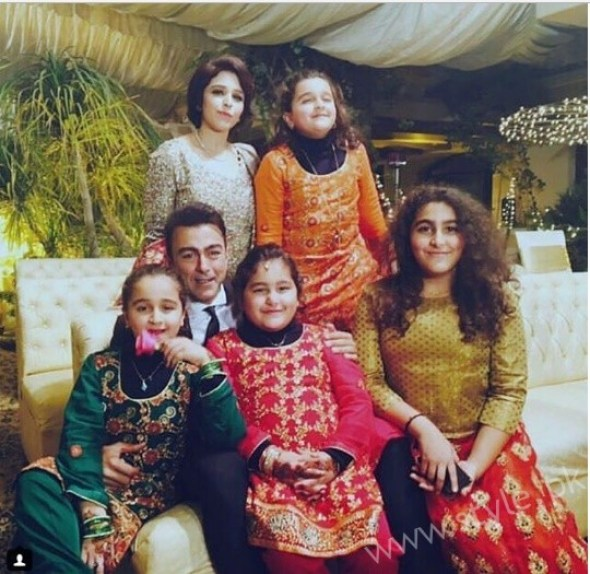 Actor Shaan Shahid With His Family At A Wedding Function