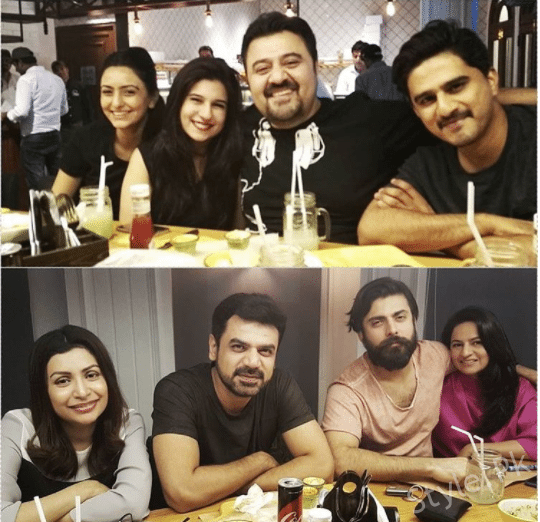 Fawad Khan, Ahmed Ali Butt And Wasay Ch Having Dinner