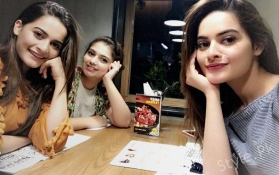 Aiman Khan, Hanish Qureshi And Minal Khan Spotted at Restaurant Last Night