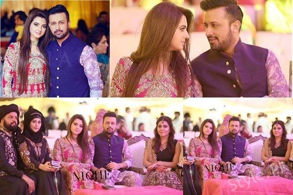 See Atif Aslam with Wife Sara at Zara Shaheen's Mehndi