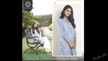 see The Rising Actress Ramsha Khan Wearing Elegant Aisha Alam's Outfit!
