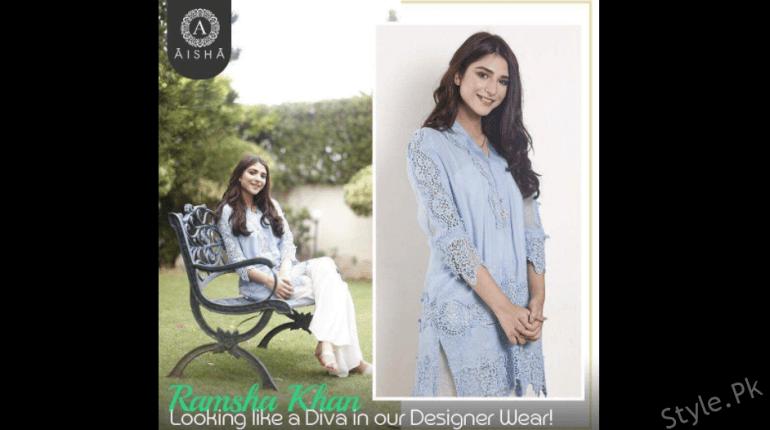 see The Rising Actress Ramsha Khan Wearing Elegant Aisha Alam's Outfit!