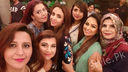 See Nadia Khan having Fun with Friends in a restaurant