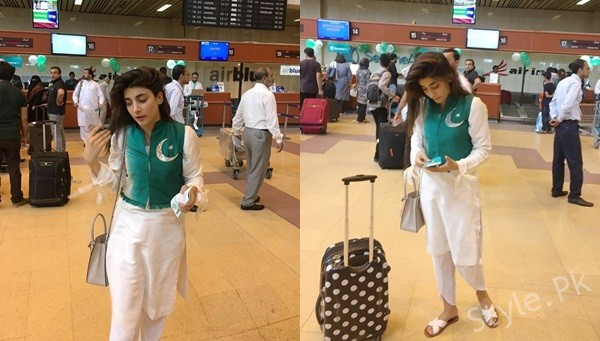 See Urwa Hocane spotted at Airport in Pakistani Flag Cardigan