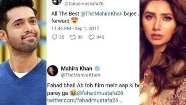 See Mahira Khan's reply to Fahad Mustafa on Calling her 'Bajee'