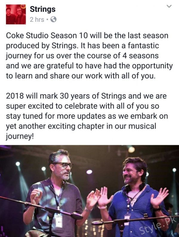 Strings Bid Good Bye To Coke Studio