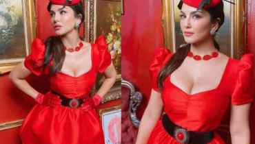Sunny Leone Sets The Christmas Mood With Red Dress