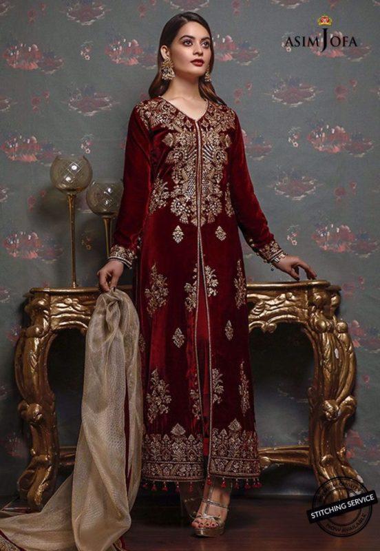 Minal Khan For Asim Jofa Latest Pakistani Velvet Dresses