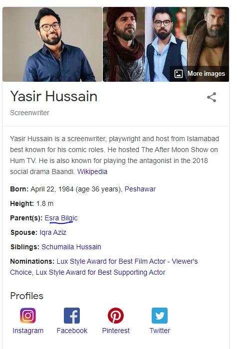 Google has listed Esra Bilgiç is Yasir Hussain mother