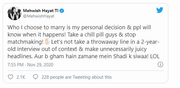 Mehwish Hayat gave shut up call to trolls regarding her marriage