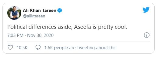 PTI big wig Ali Khan Tareen thinks Aseefa Bhutto is pretty cool