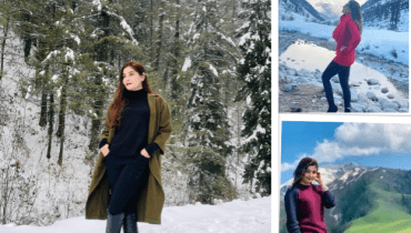 Singer Gul Panra Enjoying Snow in Murree