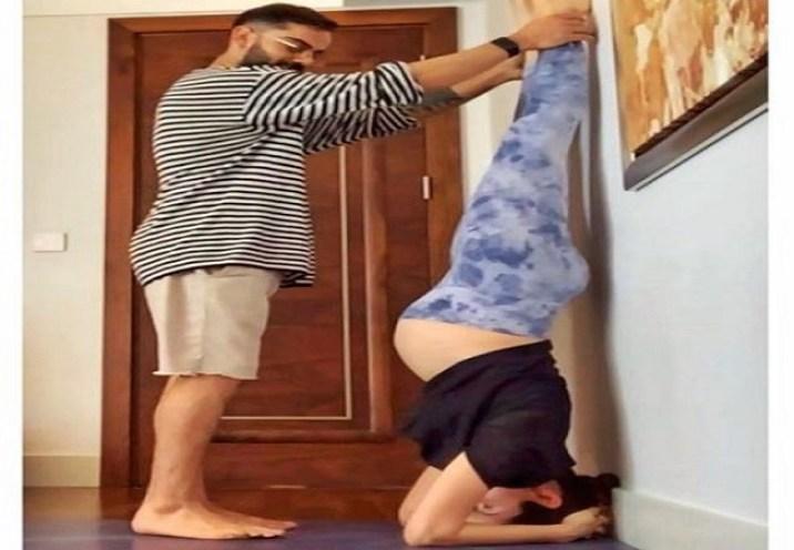 Virat Kohli Helps Anushka Sharma To Do Yoga Picture Goes Viral