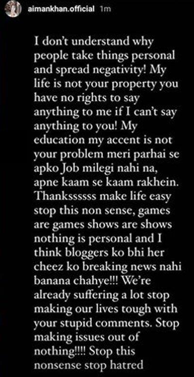 Aiman Khan bashes trolls after body shaming Mawra Hocane
