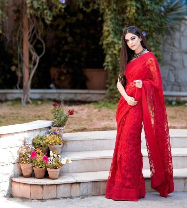 Maya Ali Looks Vibrant & Serves Killer Looks in a Red Saree