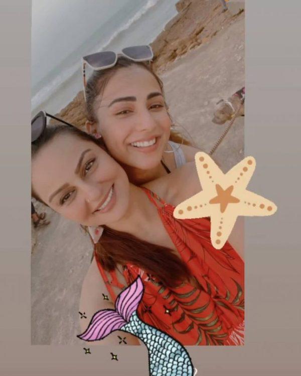 Ushna Shah & Juveria Abbasi Having Fun With Friends At Beach
