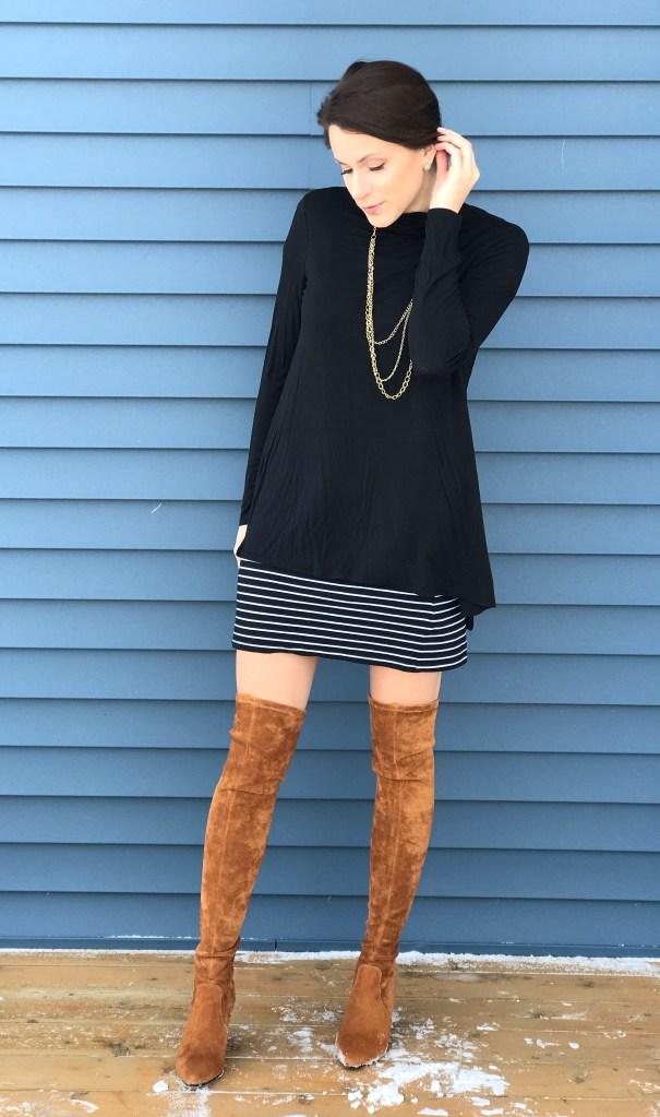 Layering With A Striped Dress – Winter Edition