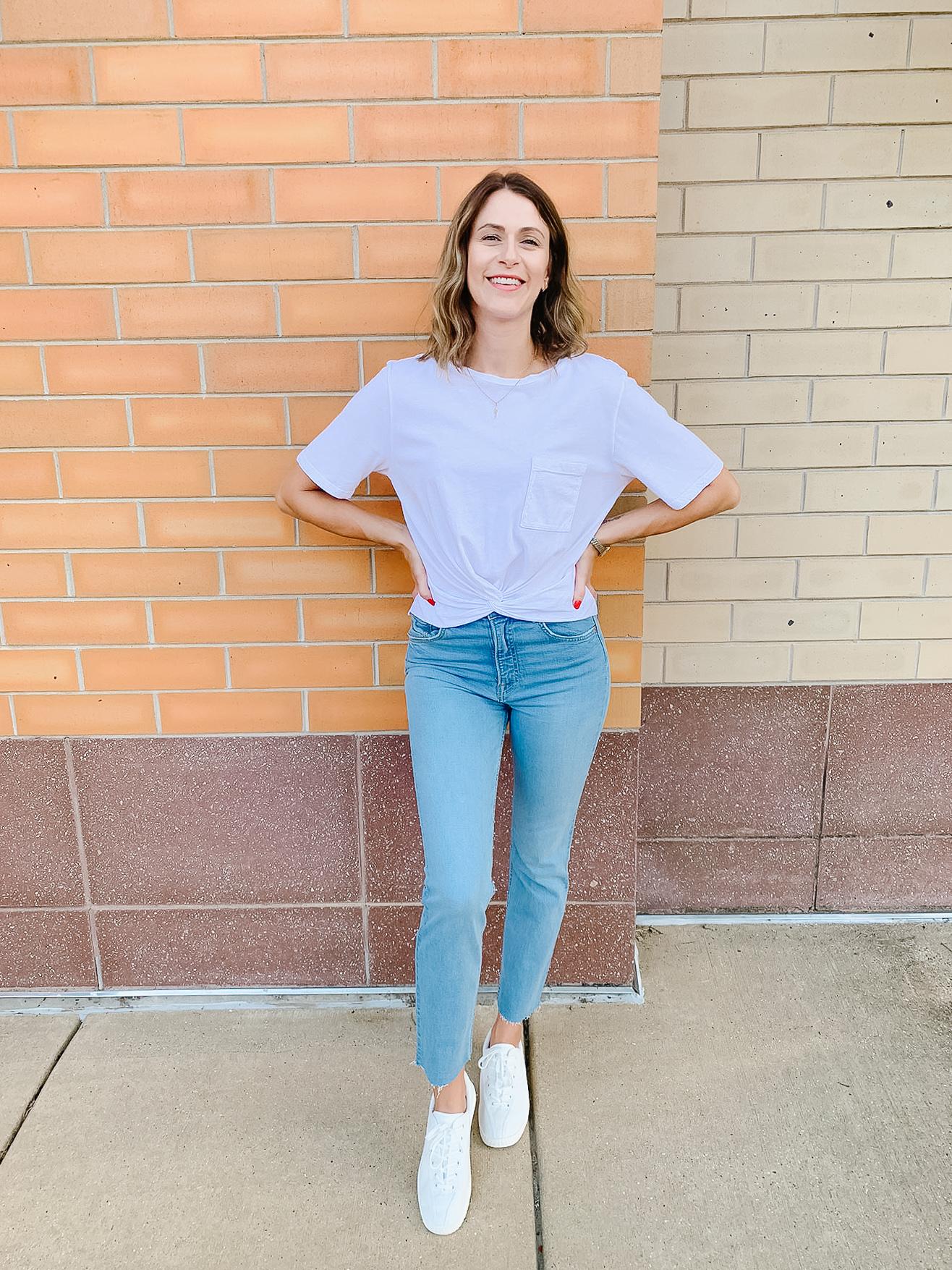 LA Made - Tana Twist Pocket Tee@ $54 GRLFRND - Reed Holding On High Rise Slim Jeans@ $224