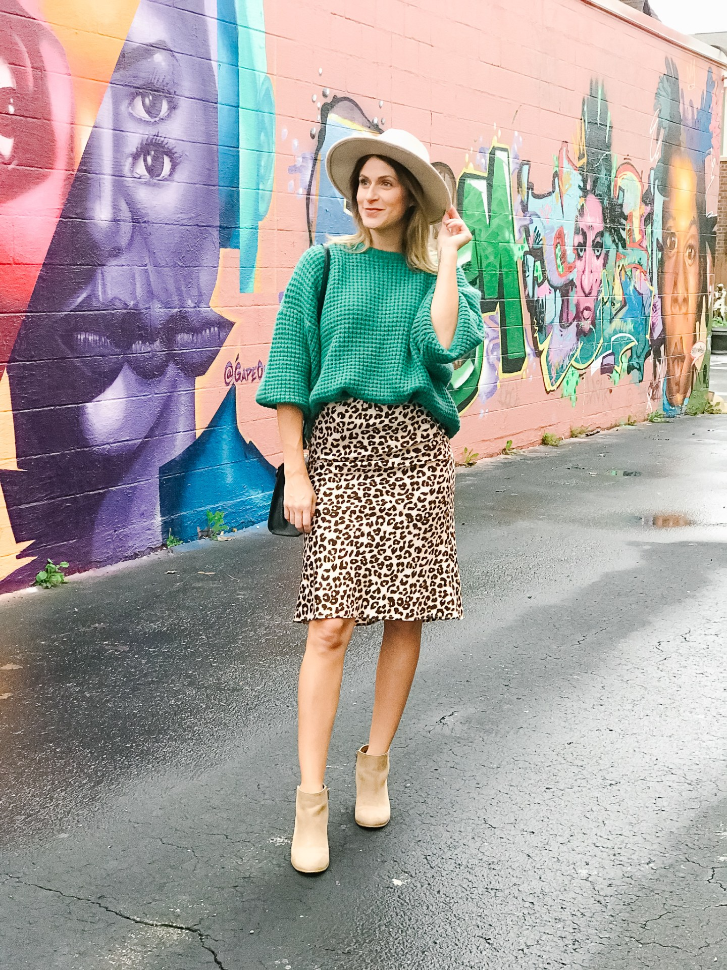 Transition Your Leopard Skirt From Summer to Fall