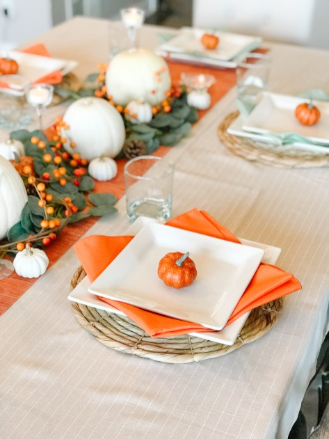 Thanksgiving table set up