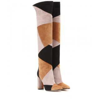 Patchwork suede over-the-knee boots. Gianvito Rossi, $1,857