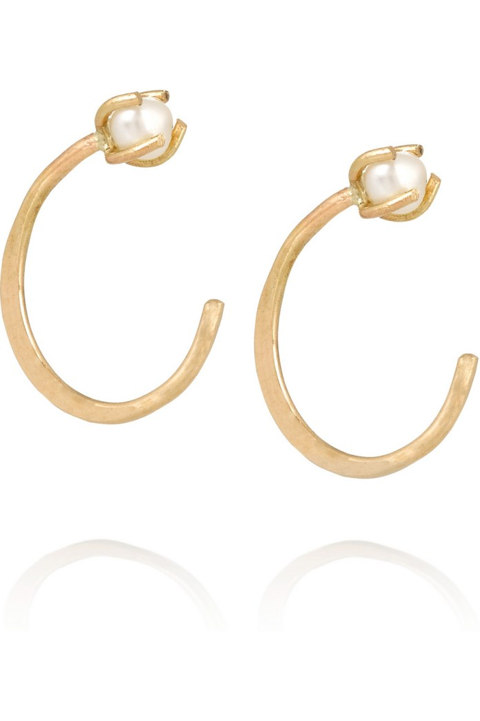 14-karat gold pearl earrings, Melissa Joy Manning $200
