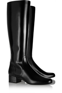 Polished-leather knee boots. Saint Laurent, $1,495