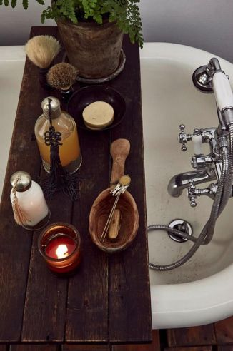 13. Place a shelf with your favorite beauty products on your tub.