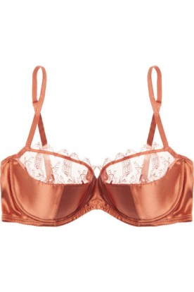 Lace-trimmed stretch-satin balconette bra. Eres, $395
